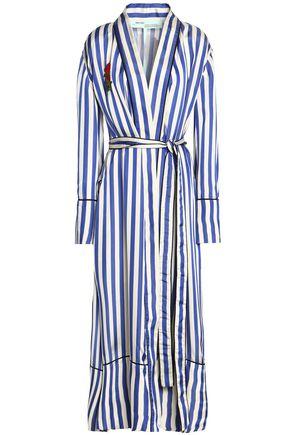 OFF-WHITE™ Floral-appliquéd striped satin jacket