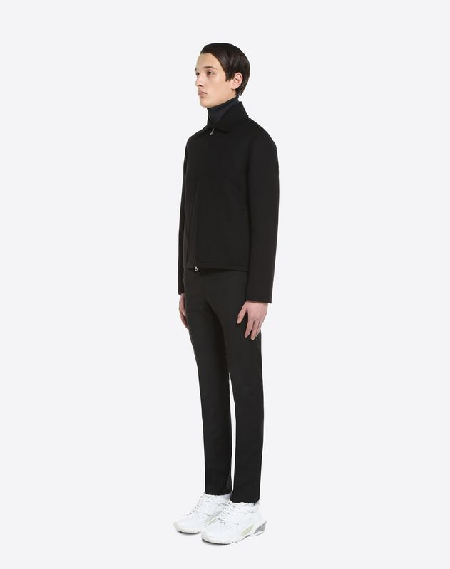 WOOL AND CASHMERE BLOUSON WITH VLTN INTARSIA