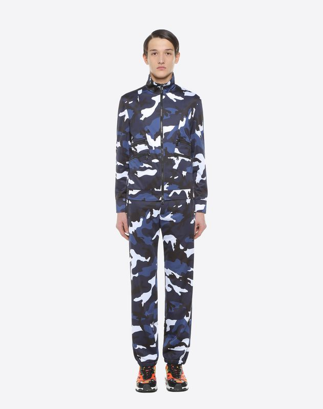 Camouflage-print jersey blouson