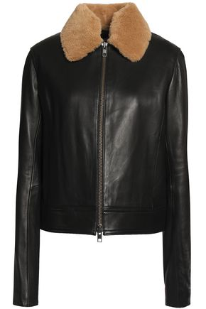 VINCE. Shearling-trimmed leather jacket