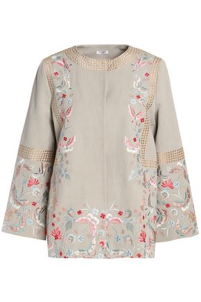 VILSHENKO Embroidered cotton and linen-blend gabardine jacket