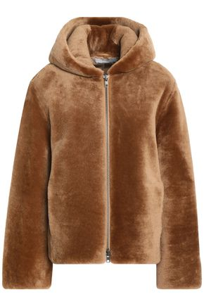 VINCE. Leather-trimmed shearling hooded jacket