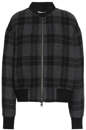 VINCE. Checked wool-blend bomber jacket