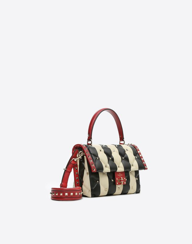 Striped Candystud Top Handle Bag