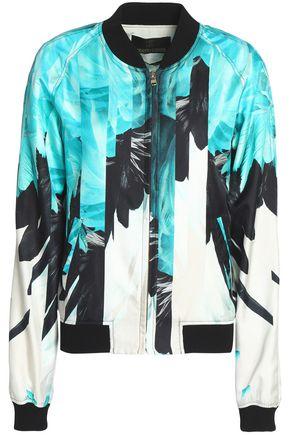 ROBERTO CAVALLI Printed silk-twill bomber jacket