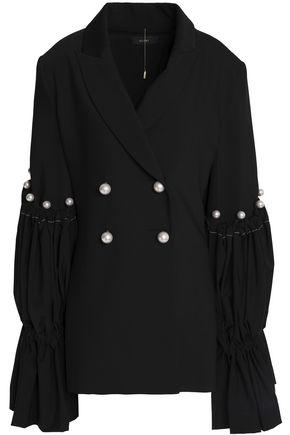 ELLERY Faux pearl-embellished woven blazer