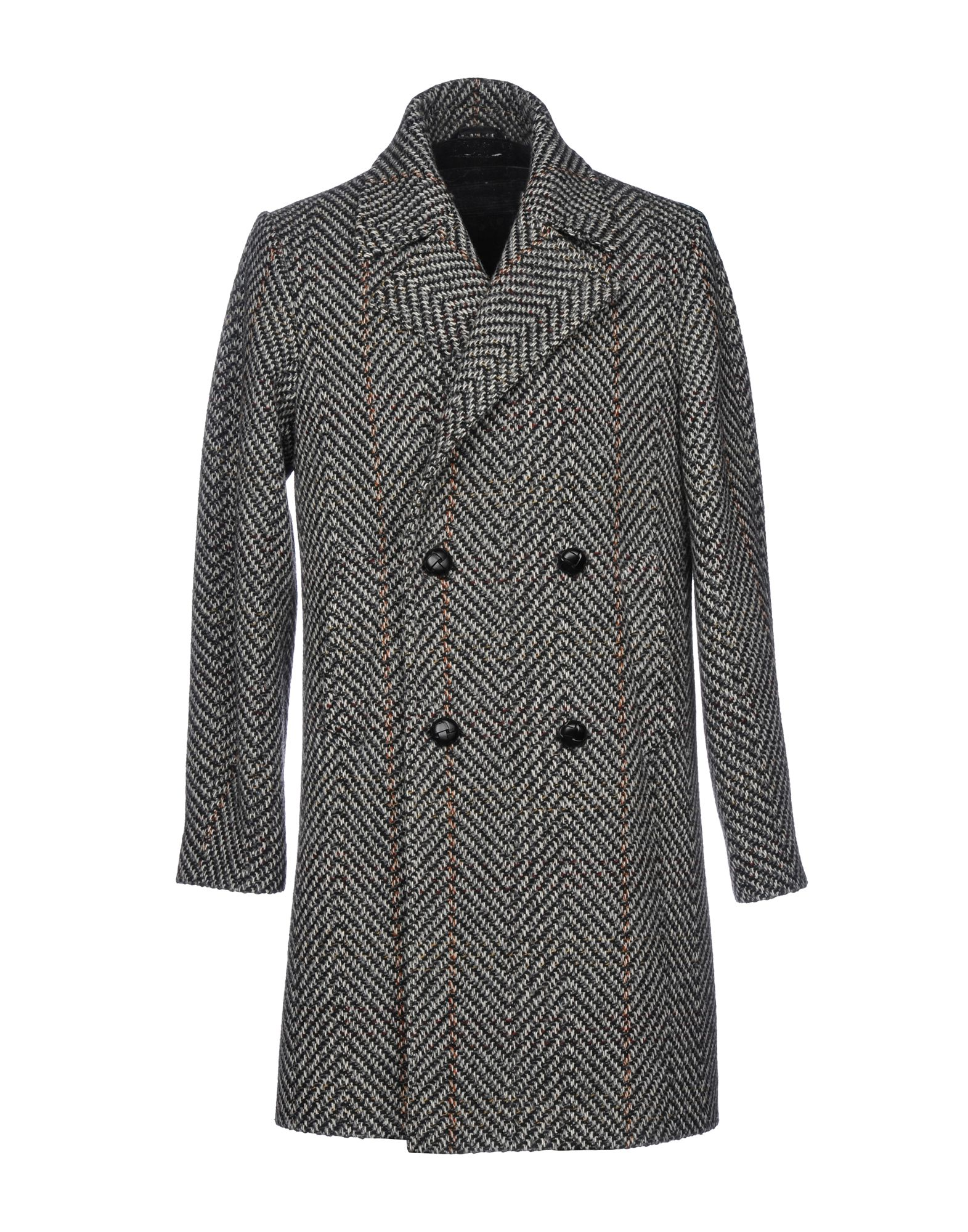 DOPPIAA Herringbone Double Brested Coat in Grey