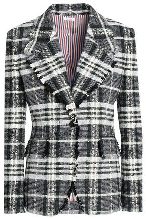 THOM BROWNE Frayed cotton-blend tweed blazer