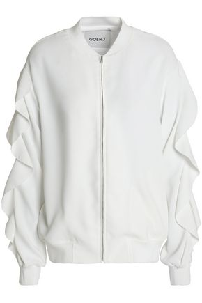 GOEN.J Lace-trimmed ruffled crepe de chine bomber jacket