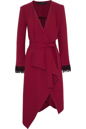 ROLAND MOURET Studham lattice-trimmed wool-crepe wrap jacket