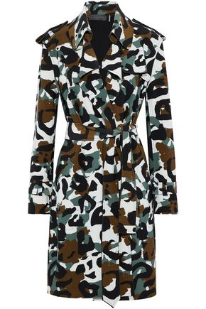 NORMA KAMALI Printed scuba trench coat