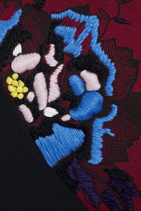ROLAND MOURET Rushenden embroidered crepe bomber jacket