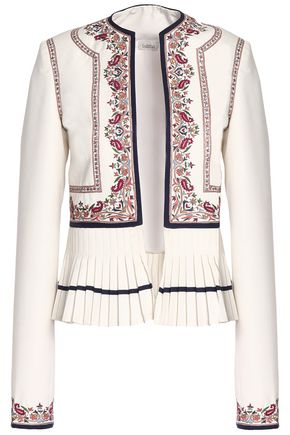 TALITHA Pleated embroidered twill jacket