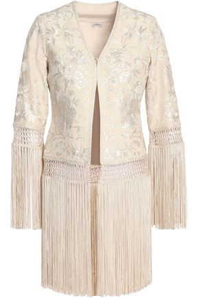 TALITHA Fringed embroidered silk jacket