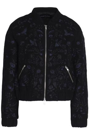 NEEDLE & THREAD Embroidered wool-blend bomber jacket