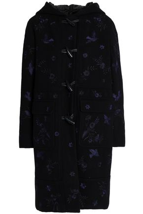 NEEDLE & THREAD Embroidered wool-blend felt hooded coat