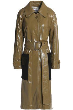 SONIA RYKIEL Velvet-paneled coated cotton-blend trench coat