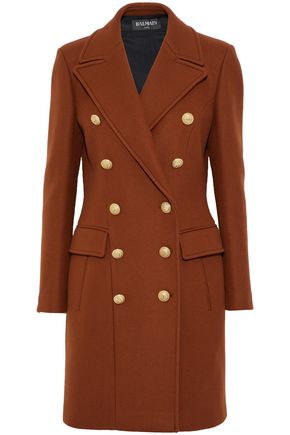 BALMAIN Double-breasted button-detailed wool and cashmere-blend coat