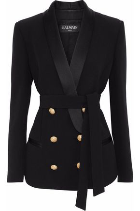 BALMAIN Double-breasted belted satin-trimmed crepe blazer