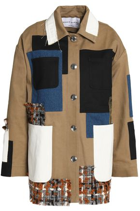 SONIA RYKIEL Patchwork denim, faux leather and bouclé-tweed jacket