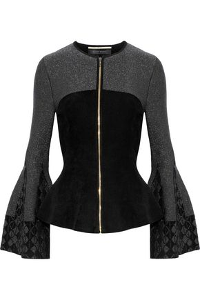 ROLAND MOURET Metallic jacquard stretch knit-paneled fleece jacket