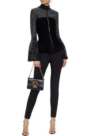 ROLAND MOURET Metallic jacquard stretch knit-paneled fleece jacket