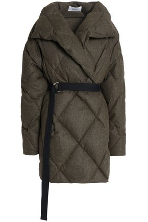 PRINGLE OF SCOTLAND Quilted brushed wool-blend down coat