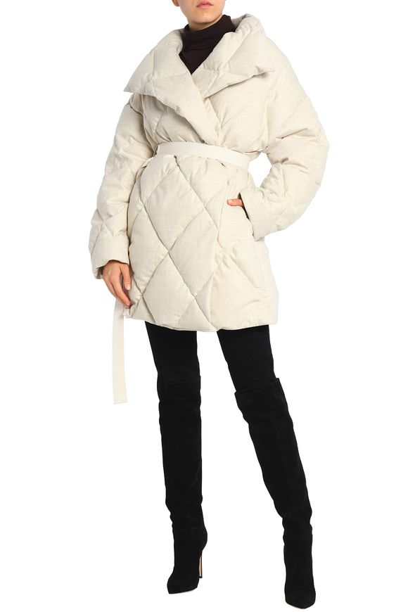 Quilted Of Down blend Off white Scotland Pringle Wool Coat EZw7pqHq