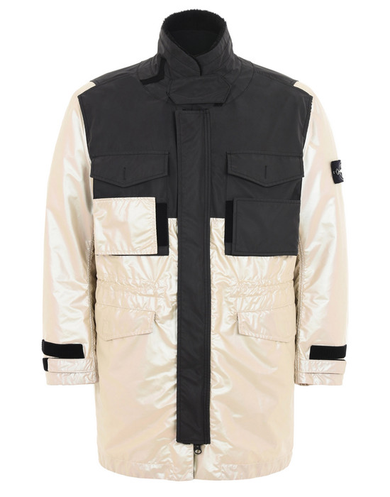 STONE ISLAND LONG JACKET 709M1 IRIDESCENT COATING TELA WITH REFLEX MAT