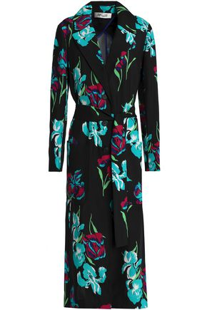 DIANE VON FURSTENBERG Floral-print silk-gabardine coat