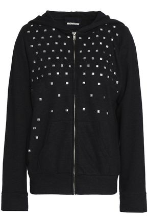 MONROW Studded French terry hooded sweatshirt