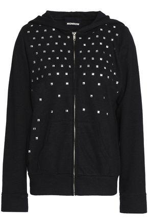 MONROW Studded French terry hooded sweatshirt