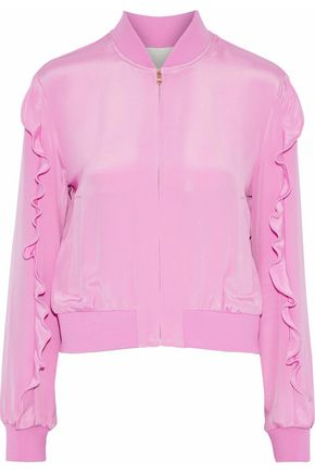 TIBI Ruffled silk crepe de chine bomber jacket