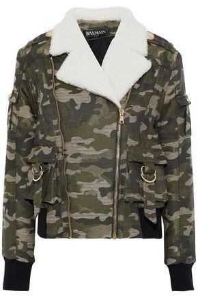 BALMAIN Shearling-trimmed cotton-blend jacquard jacket