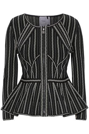HERVÉ LÉGER Striped bandage peplum jacket