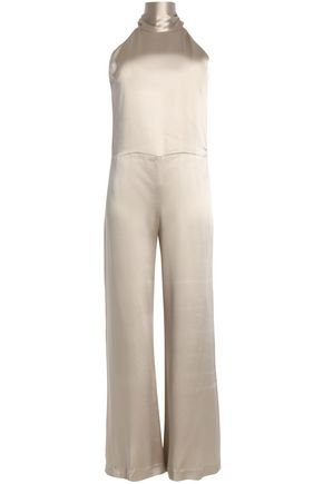 GALVAN  London Picot-trimmed satin jumpsuit