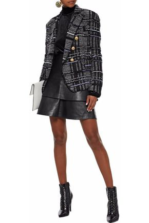 BALMAIN Double-breasted metallic checked knitted blazer