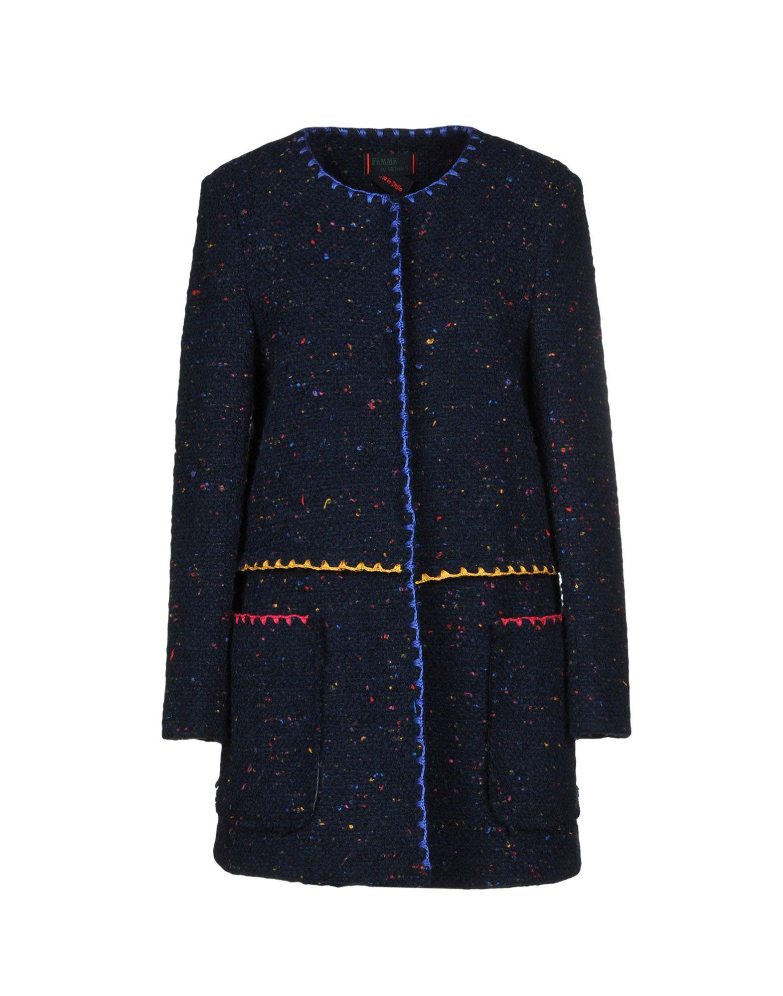 FEMME BY MICHELE ROSSI Coat in Dark Blue