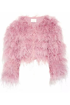 CINQ À SEPT Lennox cropped feather-embellished mesh jacket