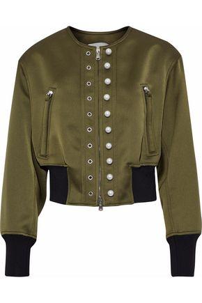 3.1 PHILLIP LIM Faux pearl-embellished satin-crepe bomber jacket