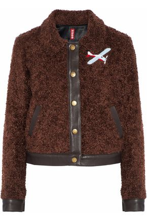 STAUD Felix leather-trimmed appliquéd faux shearling jacket