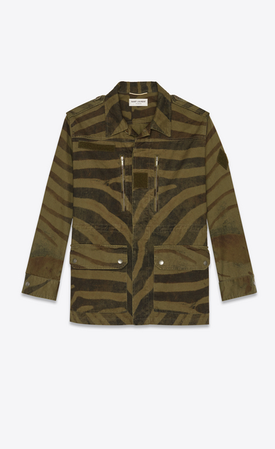 SAINT LAURENT Coats Woman Military parka in zebra print khaki cotton a_V4