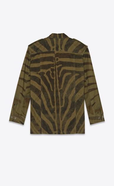 SAINT LAURENT Coats Woman Military parka in zebra print khaki cotton b_V4