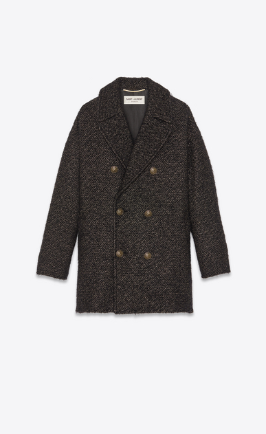 SAINT LAURENT Cappotti Donna Cappotto corto in tweed dorato con filato lamé a_V4