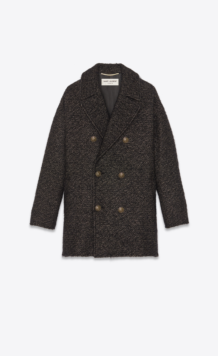 PEA COAT IN BLACK AND GOLD LAMÉ TWEED