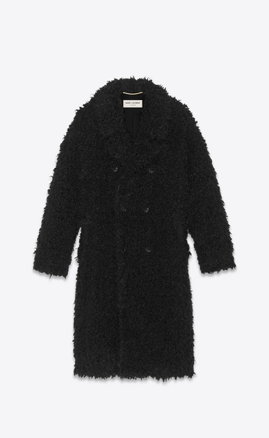 SAINT LAURENT Coats Woman Coat in black curly fur a_V4