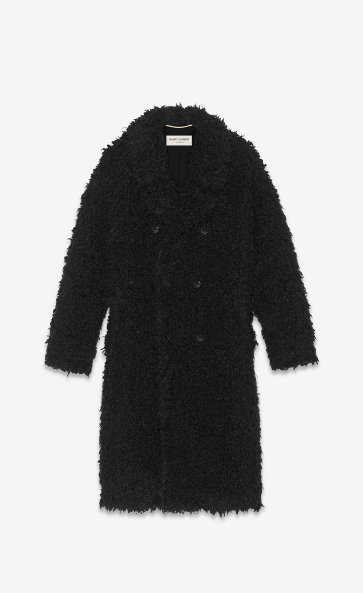 Oversized Double-Breasted Faux Shearling Coat, Black