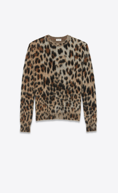 SAINT LAURENT Knitwear Tops Woman Sweater in leopard jacquard mohair a_V4