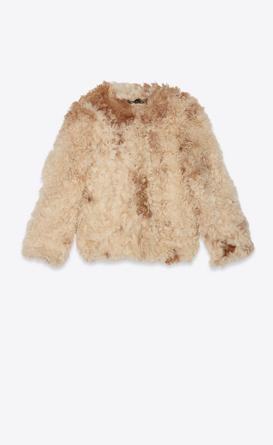 SAINT LAURENT Coats Woman Jacket in ivory and brown shearling a_V4