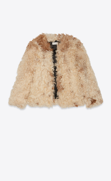 SAINT LAURENT Cappotti Donna Giacca in shearling color avorio e marrone b_V4